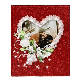 Valentines Day Photo Couple in Heart with Flowers Thumbnail
