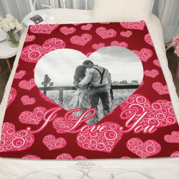 Personalized Valentines Day Couple in Heart 2 Fleece Blanket Thumbnail